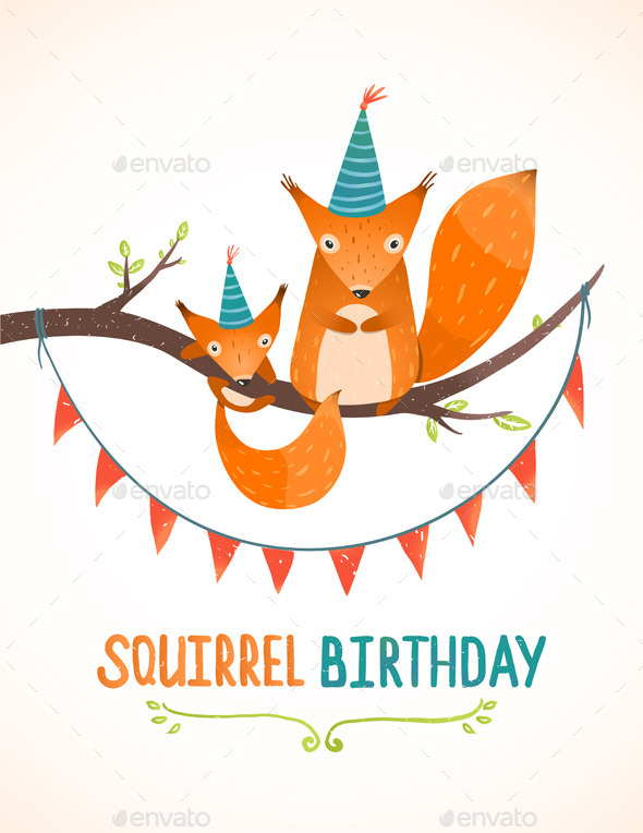 Little Squirrel and Mother Birthday Greeting Card