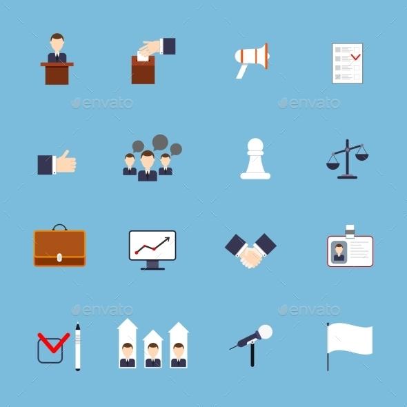 Elections Icons Set Flat