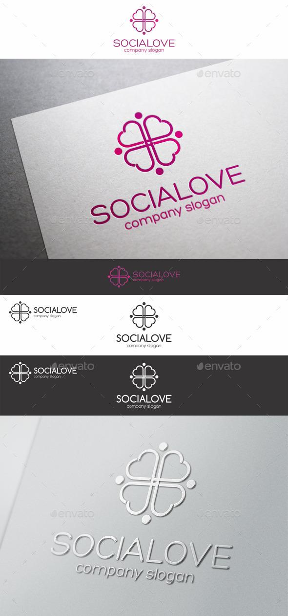 Social Love Hearts Cross Logo