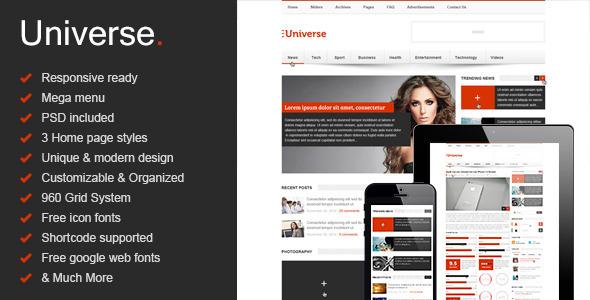 Universe - Responsive HTML5 Magazine - News, Blog