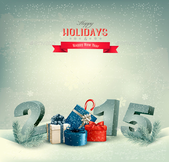Holiday Background with Presents and 2015