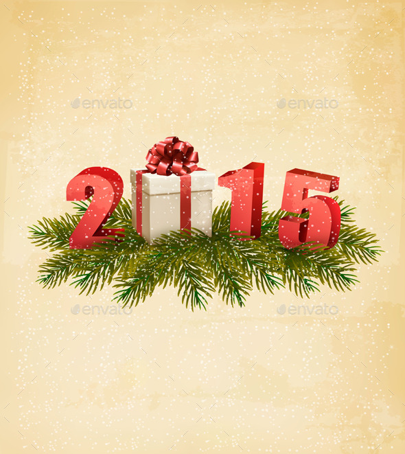 Holiday Background with a Present and 2015