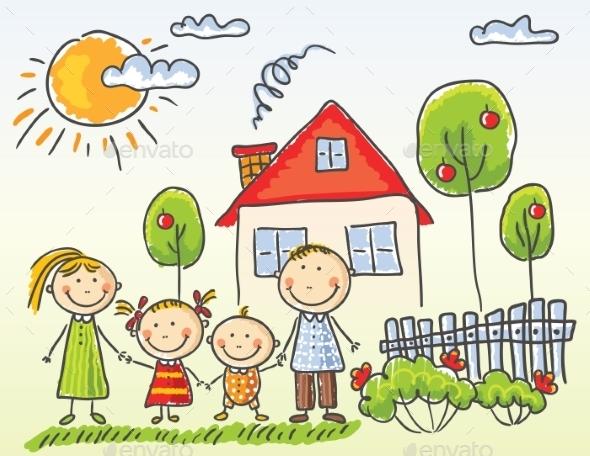 Family near House