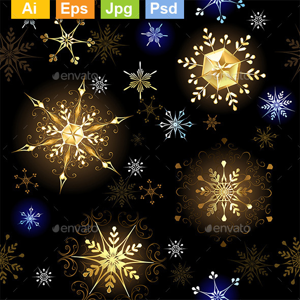 Seamless with Golden Snowflakes