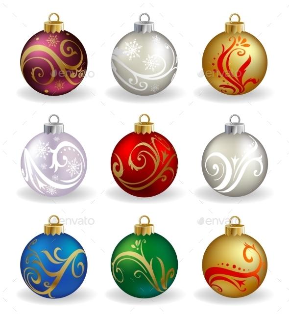 Set of Nine Christmas Baubles