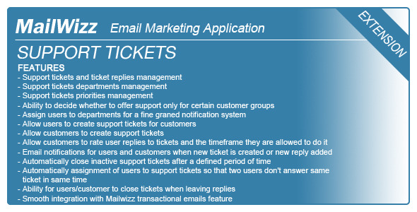 Support tickets system for MailWizz EMA