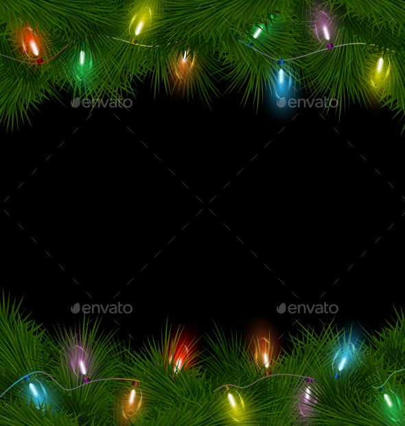 Multicolored Christmas Lights on Pine Branches