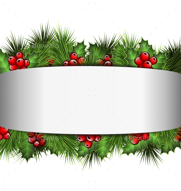 Blank Frame with Holly Sprigs and Pine Branches