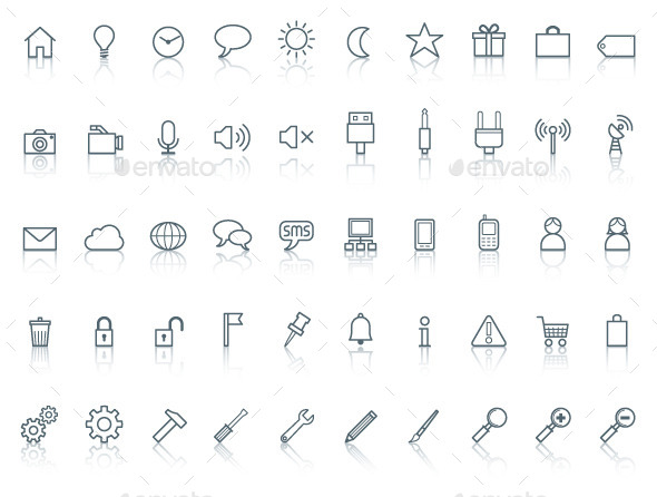 Fifty icons. Simple line with reflection