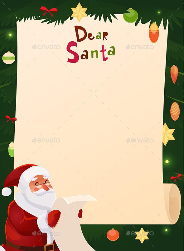 Wish List Card with Santa Claus