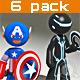 Stickman - 6 suit pack - Full Rig - 3DOcean Item for Sale