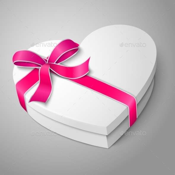White Heart Shape Box