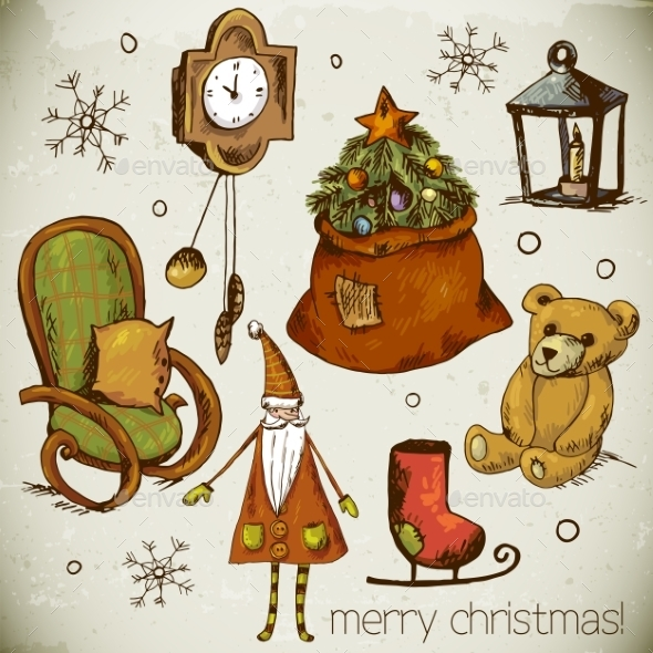 Set of Hand-Drawn New Year and Christmas Elements
