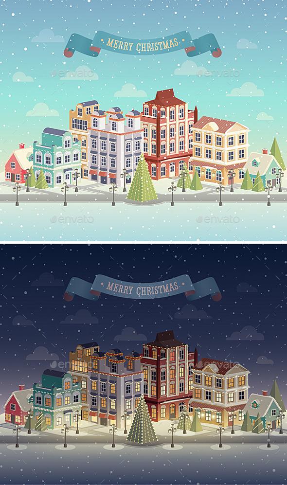 Christmas Night and Day City