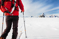 Mountaineer exploring a glacier with the skis - PhotoDune Item for Sale