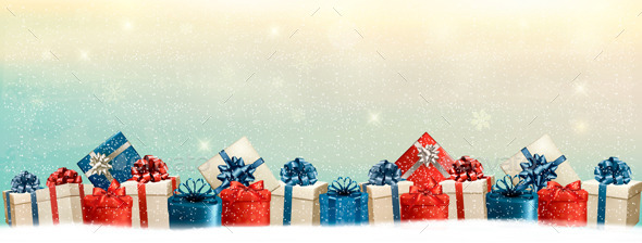 Holiday Christmas Background with a Border of Gift