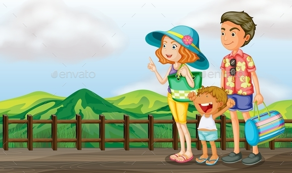 Family on a Wooden Bridge
