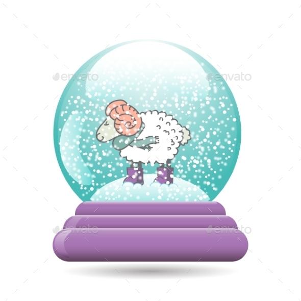 Snow Globe with Sheep for Christmas