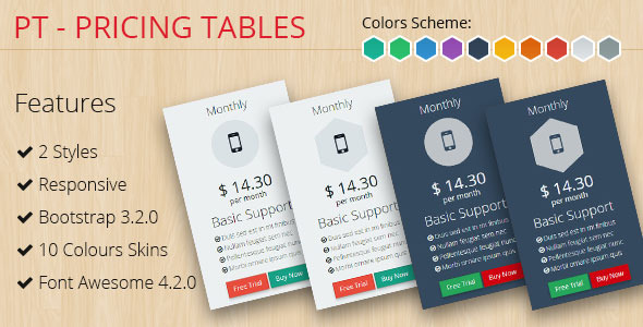 PT - Pricing Tables Bootstrap 3.2.0