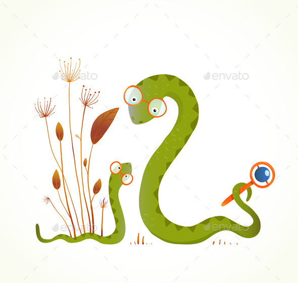 Mother Snake with a Rattler
