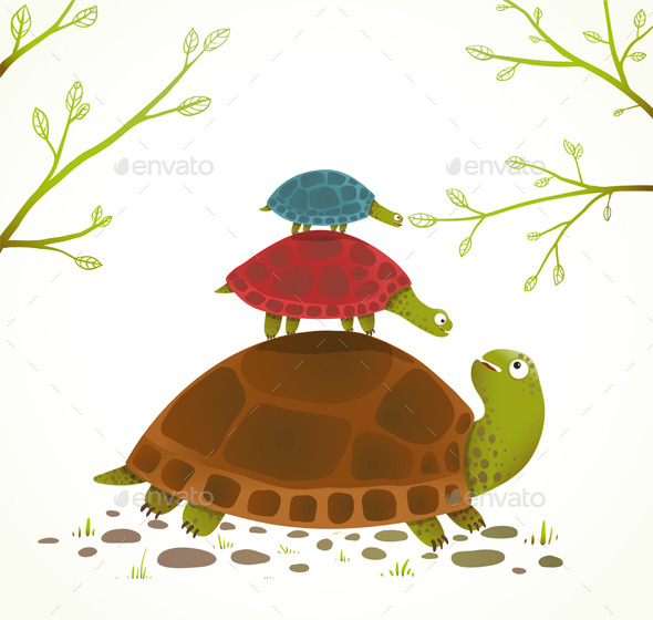 Turtle Mother and Babies