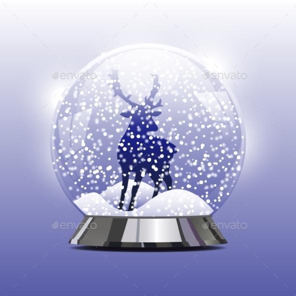 Snow Globe with a Christmas Deer