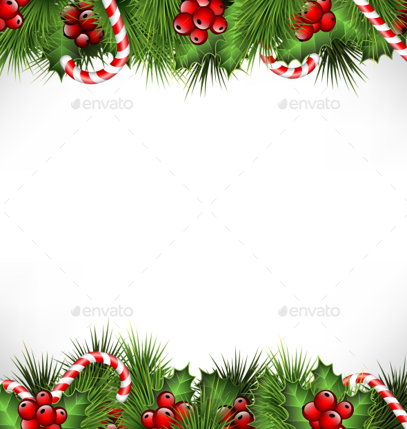 Holly Sprigs with Pine Branches and Candy Canes