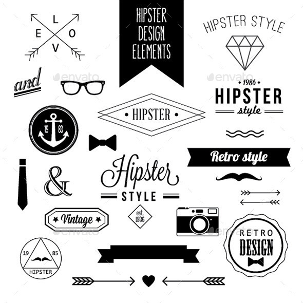 Set of Hipster Design Elements and Labels