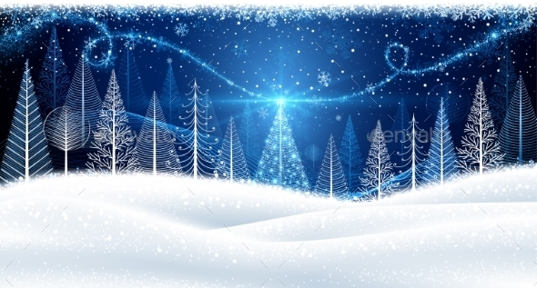 Christmas Background with Magic Trees