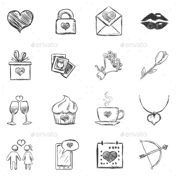 Set of Sketch Valentine Icons