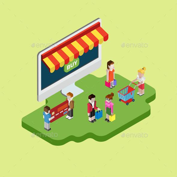 Isometric Online Shopping Design