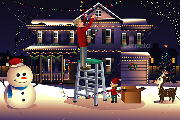 Father and Son Putting Lights on the House