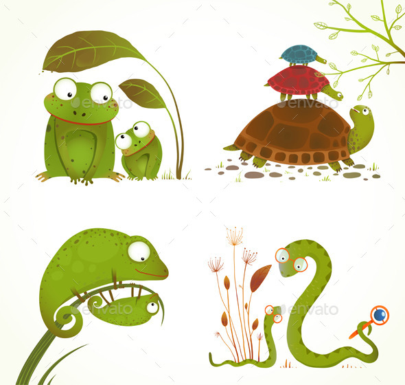 Cartoon Reptile Animals Parent with Baby Collection