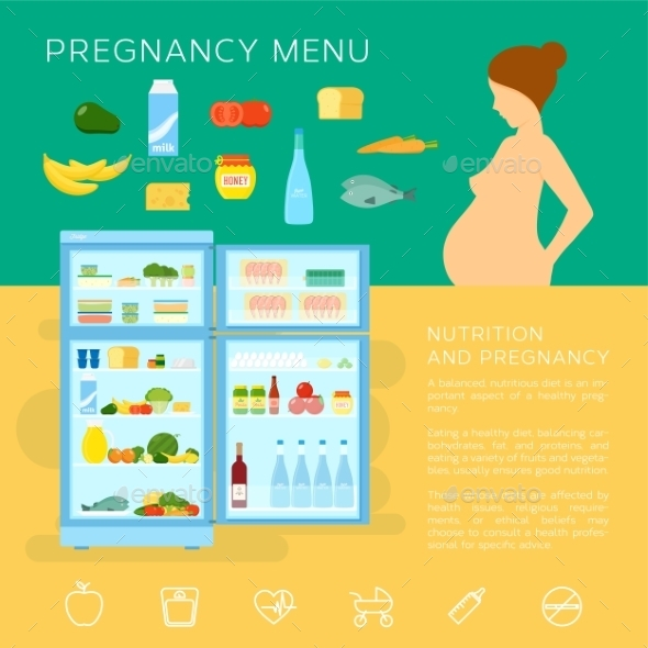 Pregnancy Menu Food Flat Style Vector Infographic