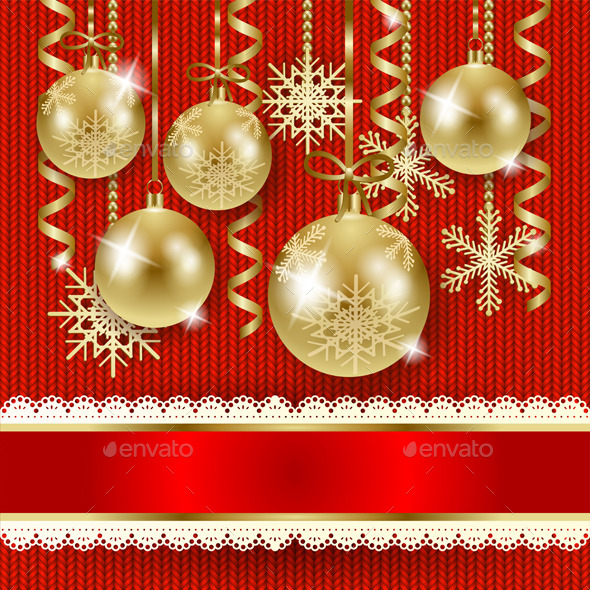 Christmas Illustration with Baubles in Gold