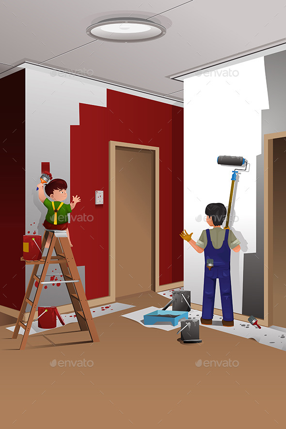 Father and Son Painting a Wall