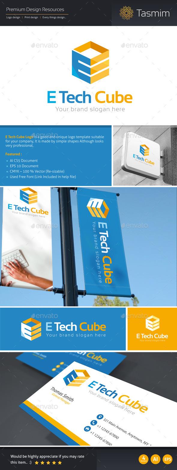E Tech Cube Logo Template