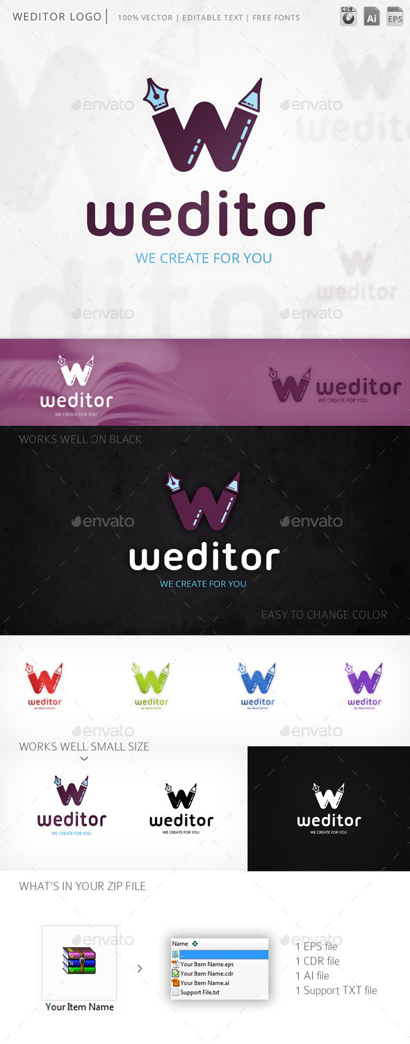 Weditor Letter W Logo Template