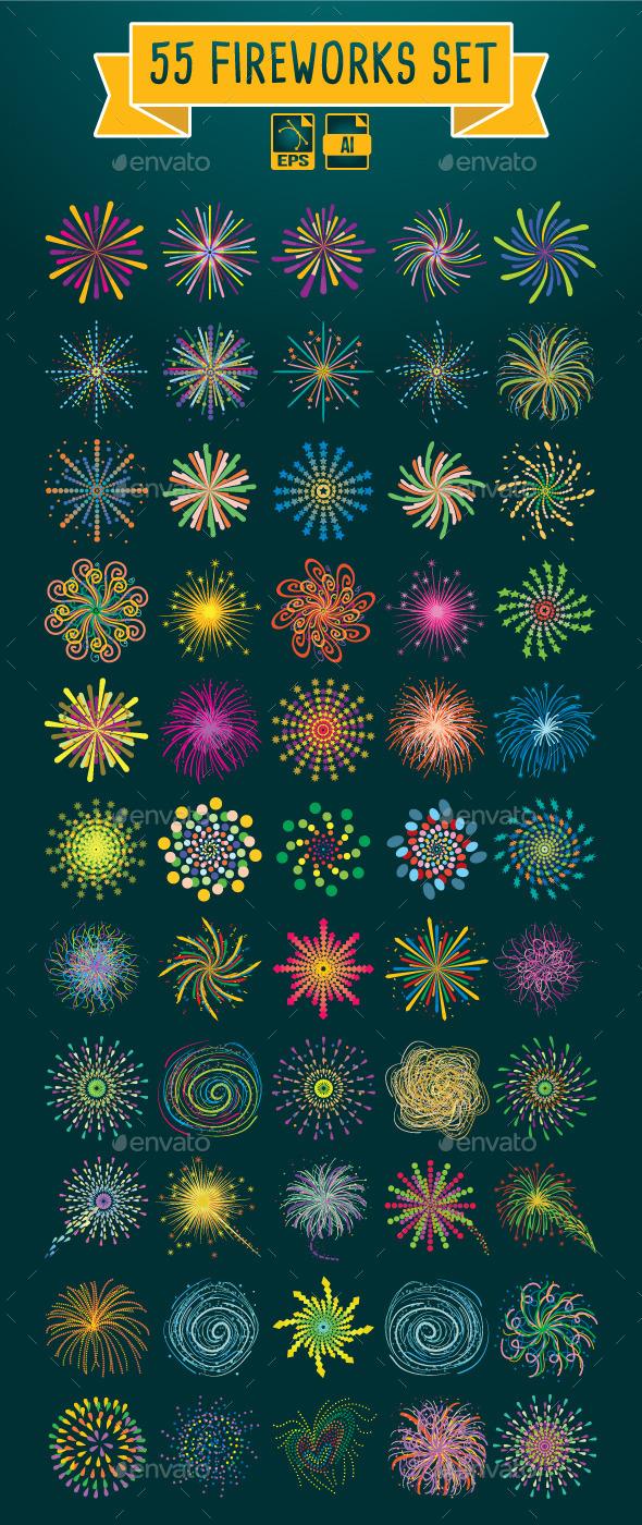 55 Fireworks Set