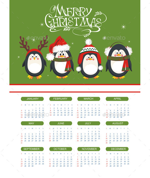 Merry Christmas Illustration with Calendar