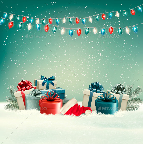 Winter Christmas Background with Presents
