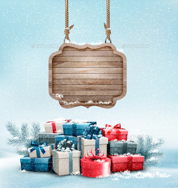 Christmas Background with a Retro Wooden Sign