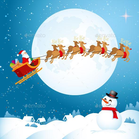 Santa Travelling Across the Night Sky