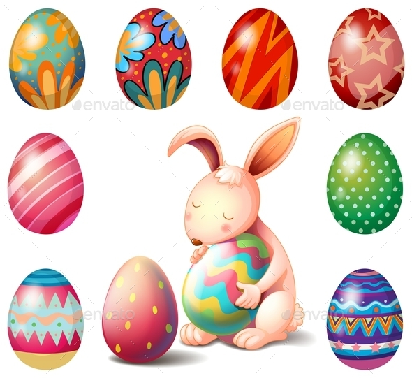 Bunny Surrounded with Easter Eggs