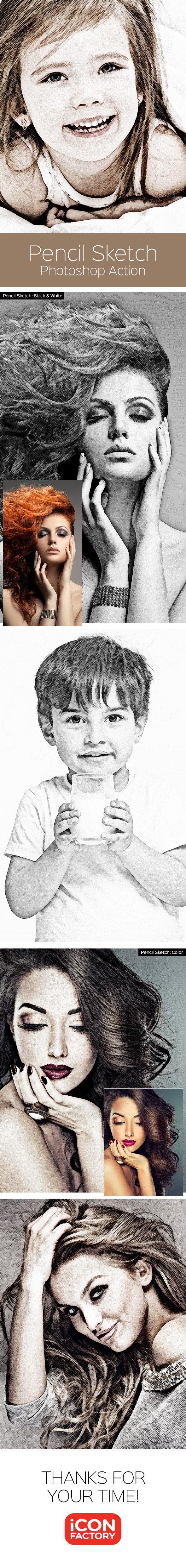 Pencil sketch photoshop action graphics designs templates