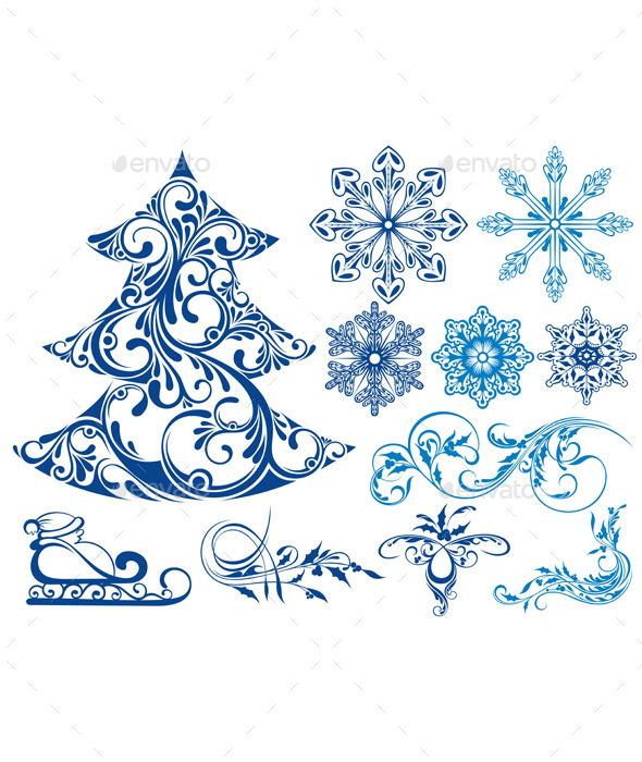 Set of Christmas Elements