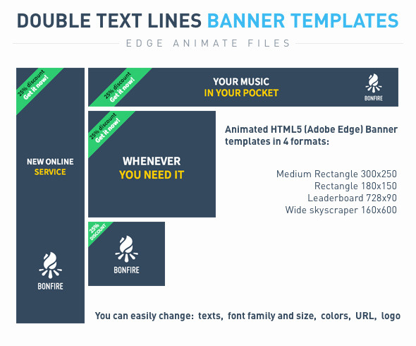 Double text lines Banner templates