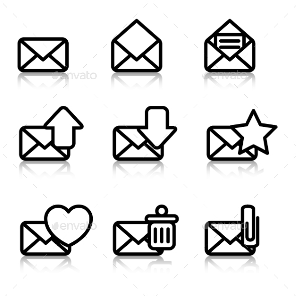 Envelopes Icons with Reflection