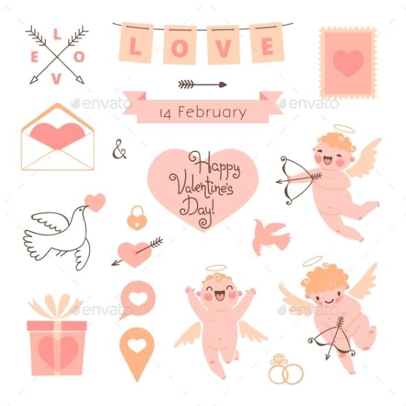Valentines Day set of elements for design.