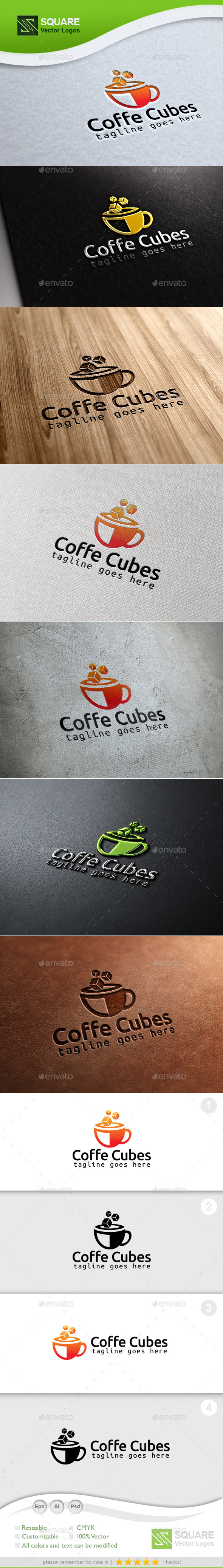 Coffee Cubes Custom Logo Template